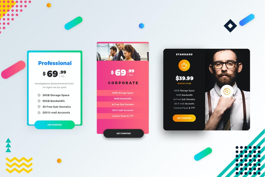 Business Pricing Table UI PSD Template
