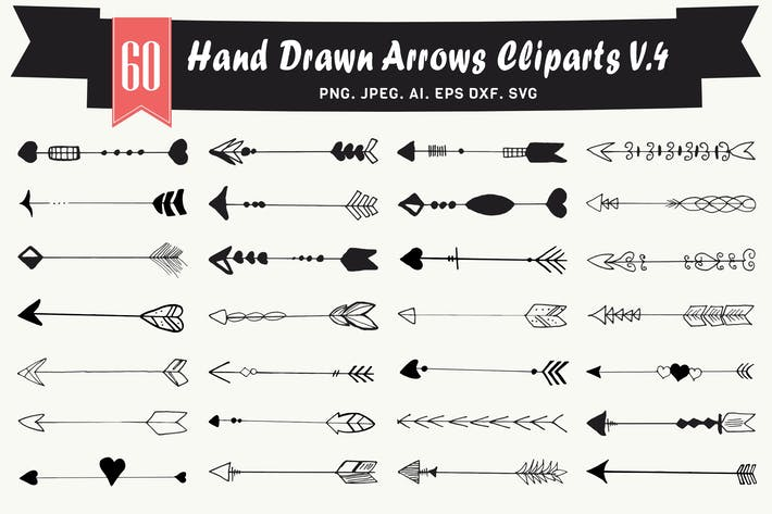 Thumbnail for Hand Drawn Arrows Cliparts Ver. 4