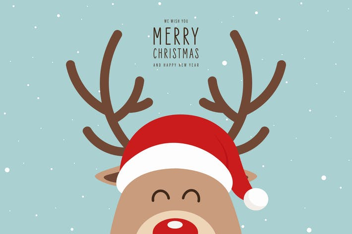 Thumbnail for Christmas Cute Reindeer Close Up Vector Card