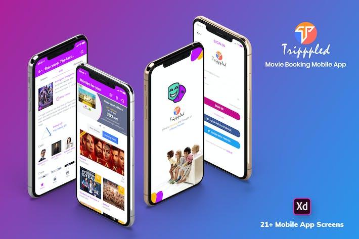 Thumbnail for Tripppled-Movie Booking Mobile App UI Kit (XD)