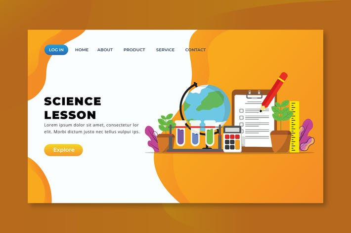Thumbnail for Science Lesson - XD PSD AI Vector Landing Page