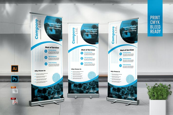 Thumbnail for COMPORE Digital Marketing Roll Up Banner Template