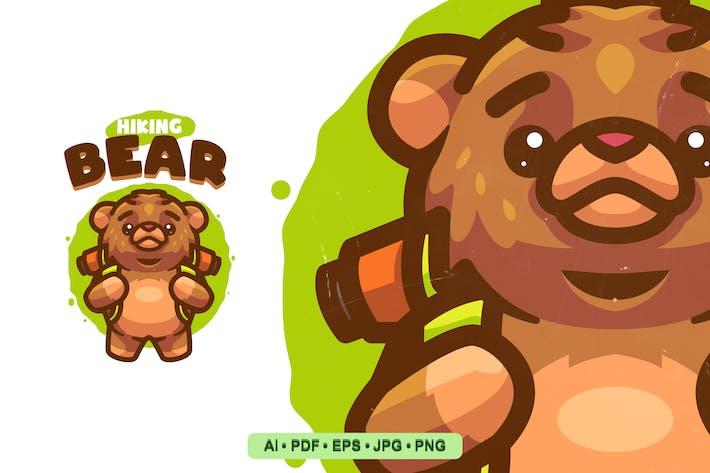 Thumbnail for Hiking Bear Cartoon Logo template