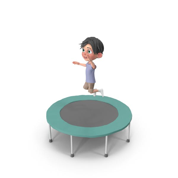 Cartoon Boy Jack Jumping On Trampoline