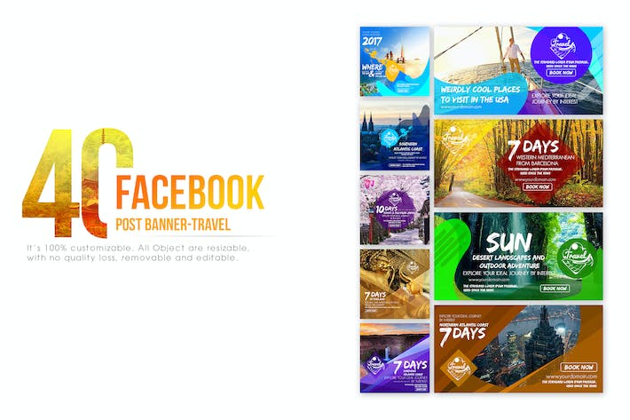 40 facebook post banner travel by wutip on envato elements