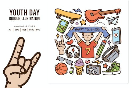 Happy Youth Day Doodle Illustration