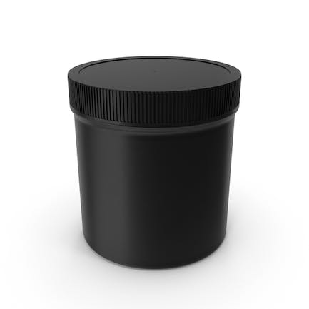 Plastic Jar Wide Mouth Straight Sided 19oz Closed Black