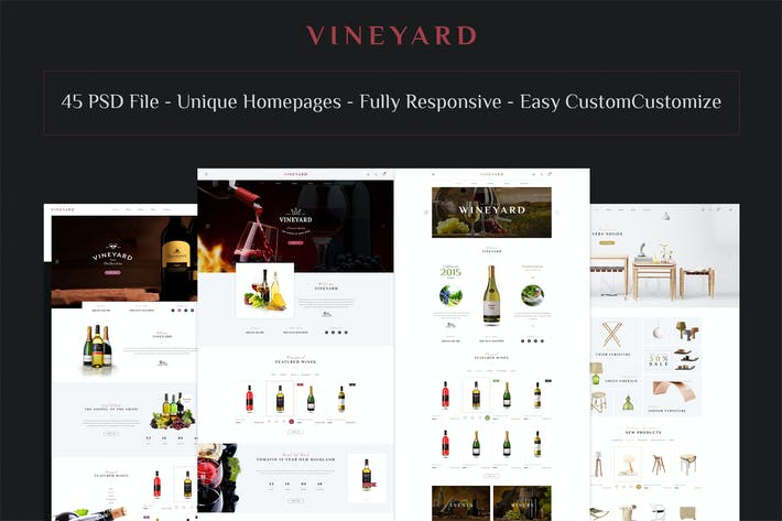 Cover Image For VINEYARD - E-Commerce and Blog PSD Theme