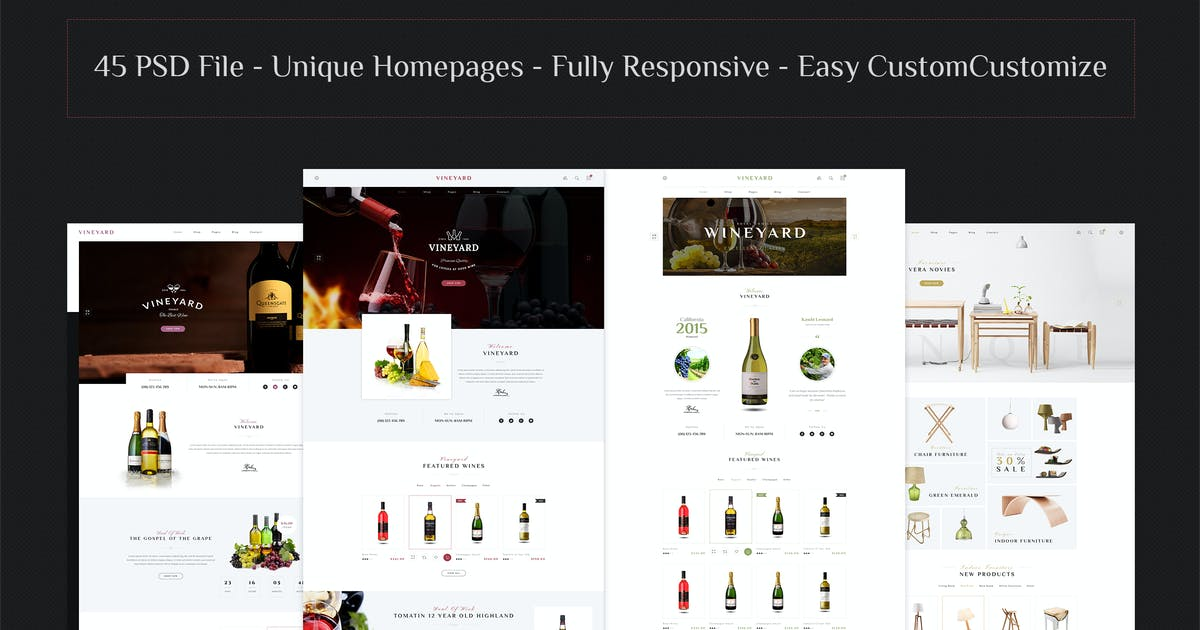 Download VINEYARD - E-Commerce and Blog PSD Theme by Leonard_Design