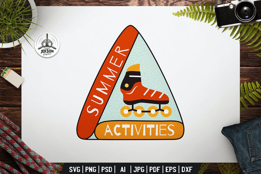 Summer Activities Label with Roller Skates Badge