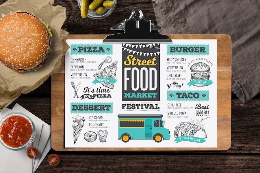 Food Truck Menu Template - Illustrated Sketch Design