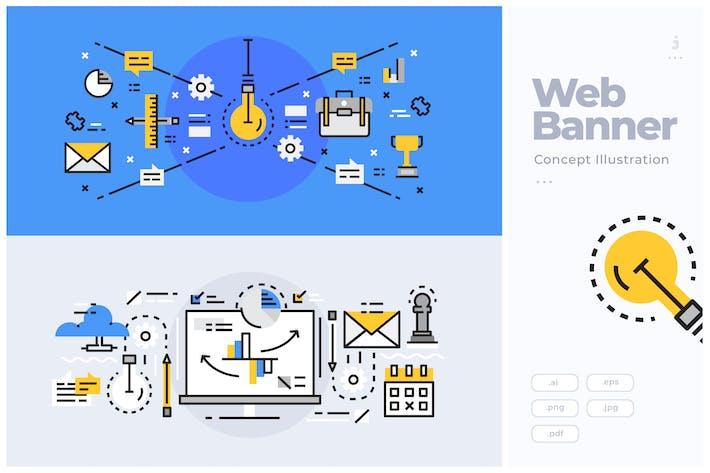 Thumbnail for Concepto de Banner de Línea Plana de Negocios y Startup
