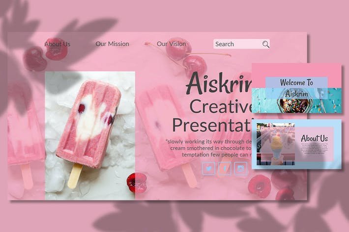 Thumbnail for Aiskrim — Творческий бизнес Google слайд Шаблон