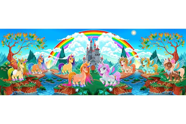 Thumbnail for Einhörner und Pegasus in ein fantasielandschaft