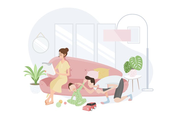 Family Spending Time Together in Living Room