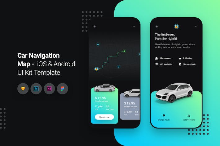 Thumbnail for Car Navigation Map iOS & Android UI Kit Template