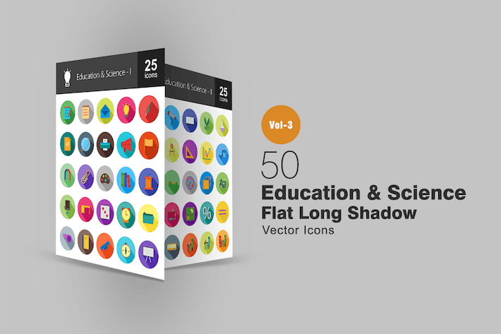 Thumbnail for 50 Education & Science Flat Shadowed Icons