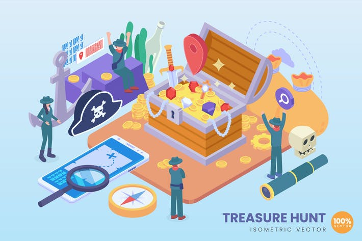 Thumbnail for Isometric Treasure Hunt Vector Concept