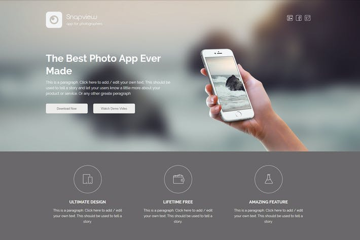 Thumbnail for Snapview - Mobile App Landing Template