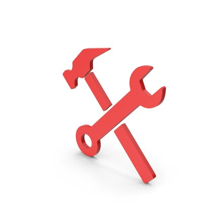 Symbol Wrench And Hammer Red