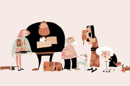 Funny pets with their owners. Vector illustration