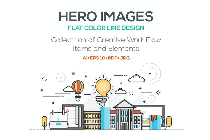 Thumbnail for Set of Flat Line Color Banners Concepts