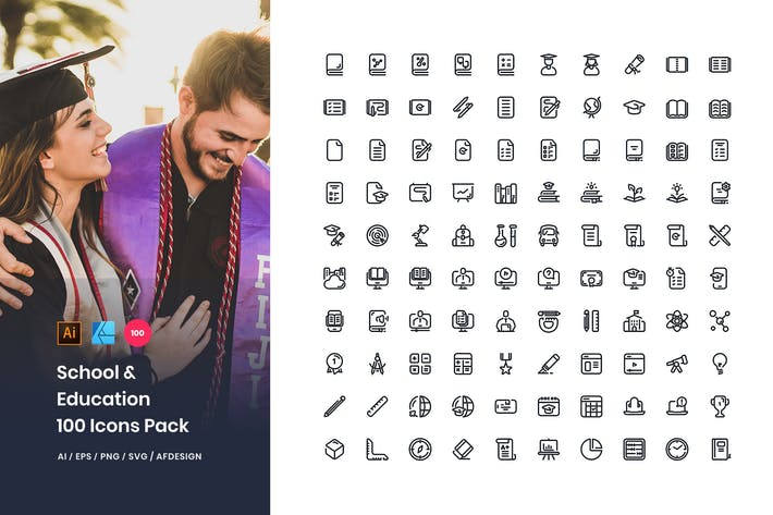 Thumbnail for School & Education 100 Set Icons Pack