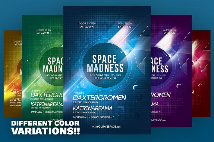 Thumbnail for Space Madness Flyer Template