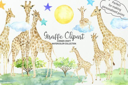 Aquarell Giraffe Illustration