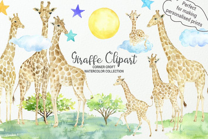Thumbnail for Watercolor Giraffe Illustration