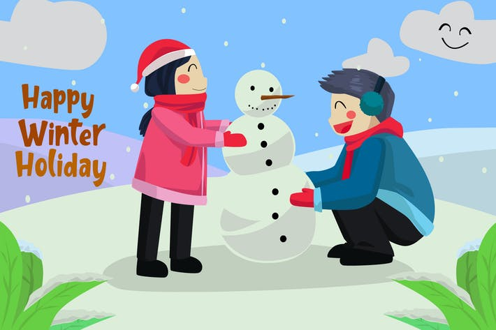Thumbnail for Happy Winter Holiday - Vector Illustration