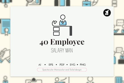 40 Employee elements in monocolor and solid design