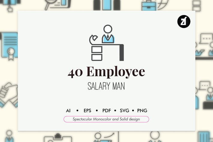 Thumbnail for 40 Employee elements in monocolor and solid design