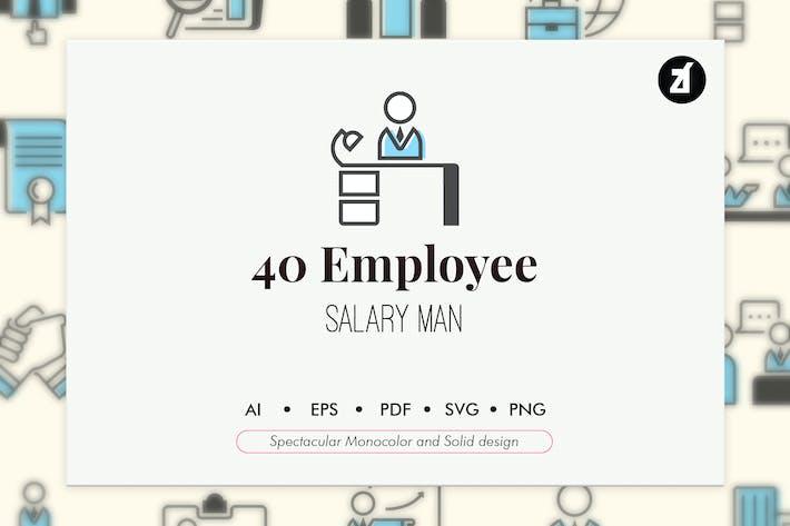 Thumbnail for 40 Mitarbeiterelemente in einfarbigem und solidem Design