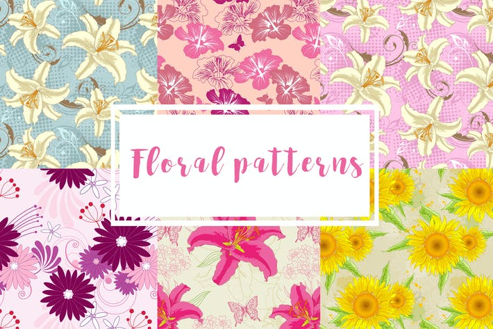 Thumbnail for Set of Floral Seamless Patterns