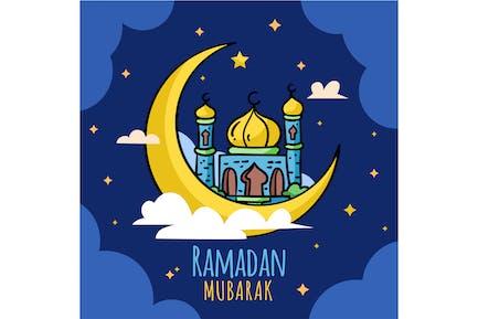 Flat Ramadan Moubarak Lune