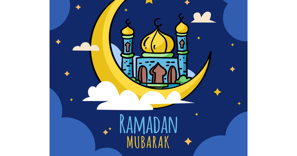 Download Flat Ramadan Mubarak Moon by MissChatZ
