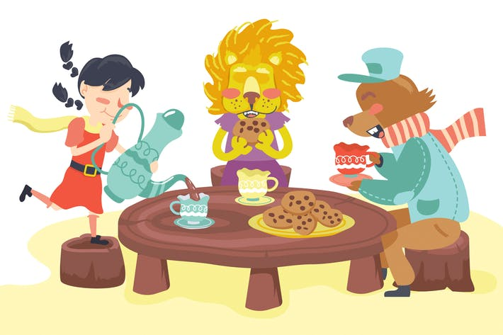 Thumbnail for Animal Tea Party Kids Illustration