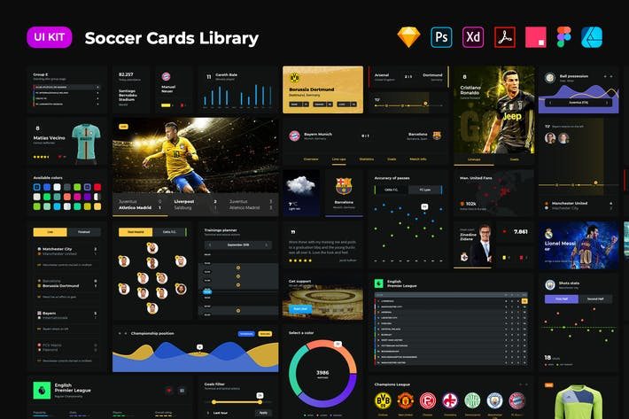 Thumbnail for Soccer cards dark UI