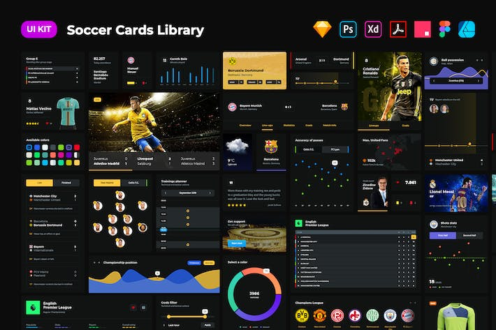 Soccer cards dark UI