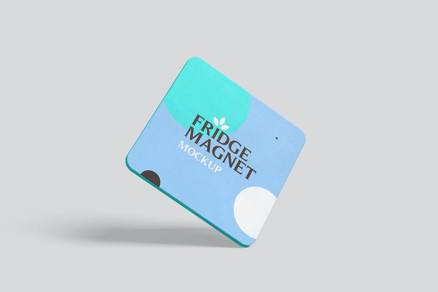 Square Shape Fridge Magnet Mockups