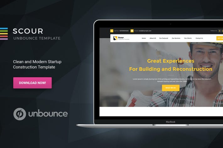 Thumbnail for Scour - Construction Unbounce Landing Page