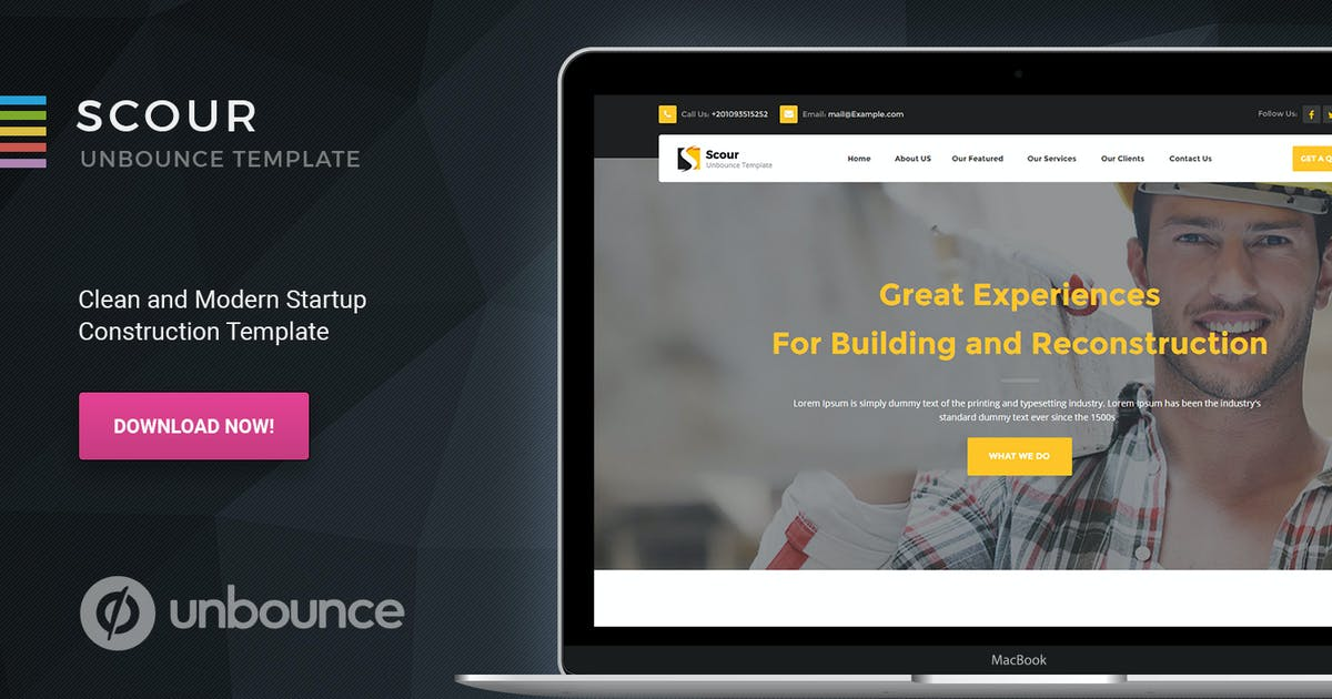 Download Scour - Construction Unbounce Landing Page by Morad