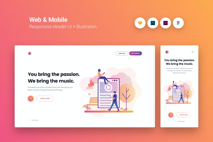 Thumbnail for Web & Mobile Responsive Cover UI + Illustration 4