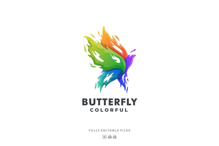 Thumbnail for Abstract Fire Butterfly Colorful Logo