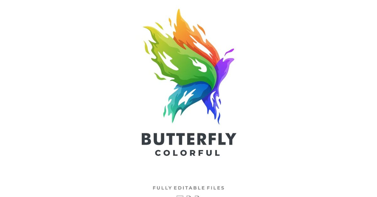 Download Abstract Fire Butterfly Colorful Logo by ivan_artnivora
