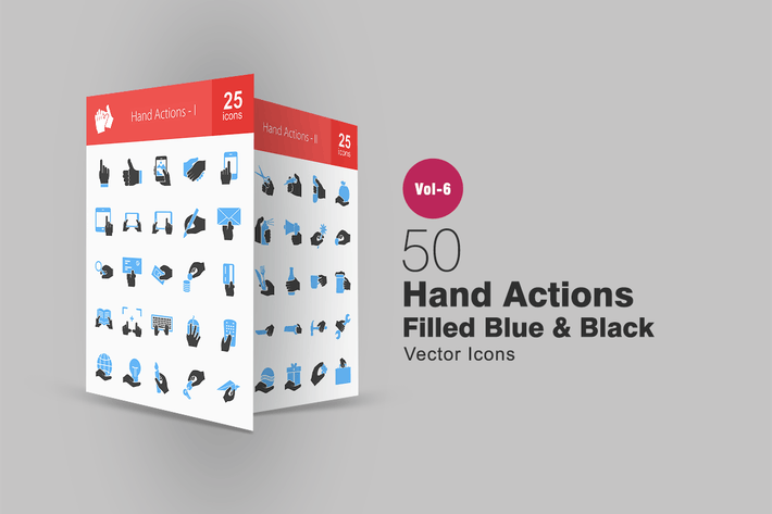 Thumbnail for 50 Hand Actions Blue & Black Icons