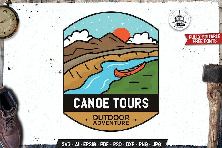 Thumbnail for Canoe Tours Emblem Modern Logo SVG. Travel Design