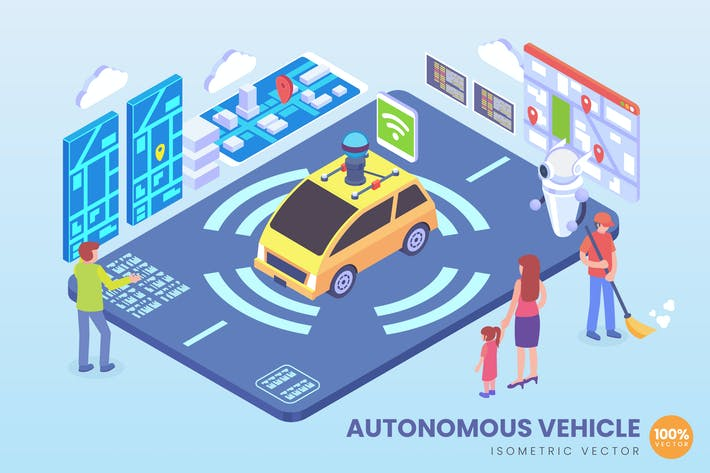 Thumbnail for Isometric Autonomous Vehicle Technology Vector
