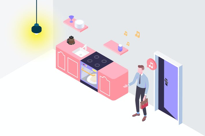 Thumbnail for Smarthome Voice Control Isometric Illustration